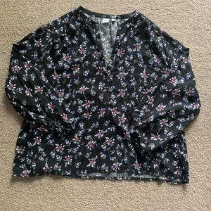 GAP Black Floral 3/4 Sleeve Flowy Blouse